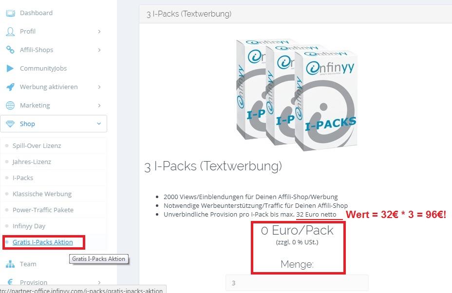 Infinyy - 96€ netto geschenkt: 3 ipacks gratis